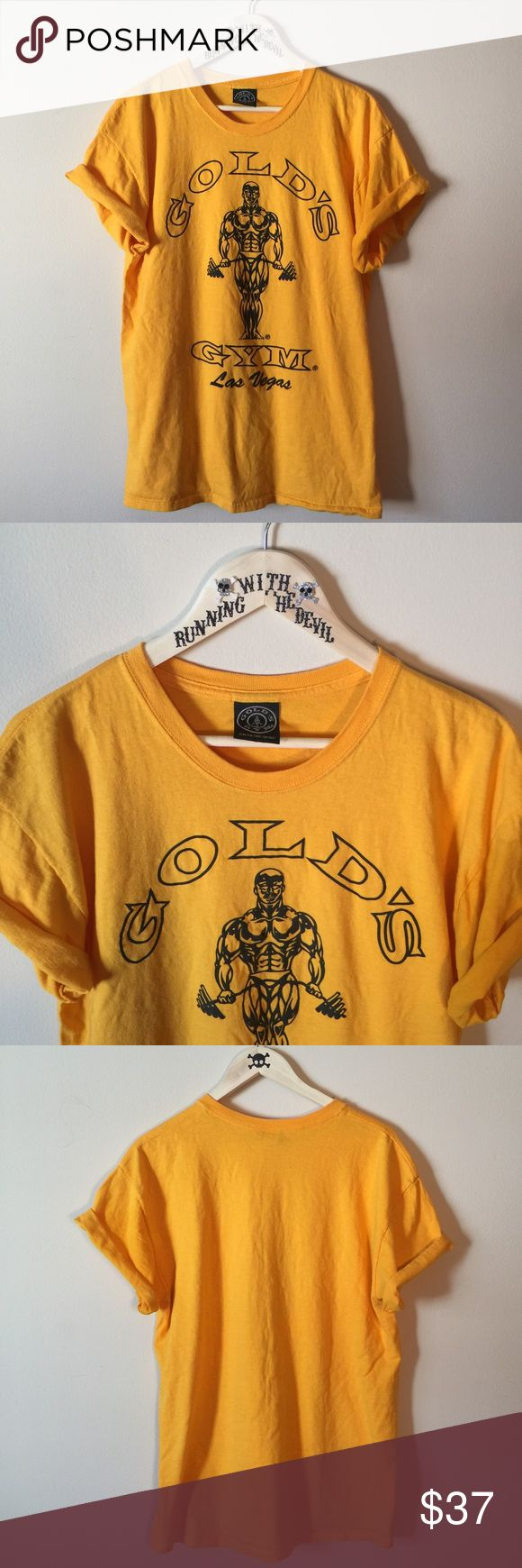 ♣️ VINTAGE || 90s • Old school Golds Gym shirt • BRIGHT YELLOW OLD SCHOOL JOE GOLD'S GYM OF LAS VEGAS MEMBERSHIP T-SHIRT   • Great shape. No stains, holes, fading or cracking.  • thick cotton. • SIZE: MEN'S LARGE  #vintage #vtg #retro #yellow #gym #goldsgym #gym #euc #graphic #tshirt #fitness #workout #graphic #lasvegas Vintage Shirts Tees - Short Sleeve