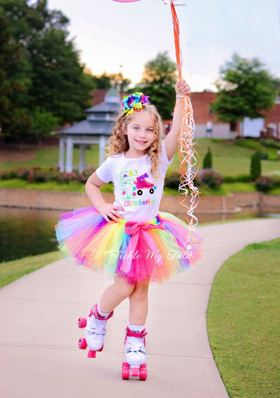Current turnaround time is posted above the add to cart button. ♥ Birthday tutu outfit in dark pink, orange, yellow, lime, turquoise, and purple - Roller Skate Theme - TWO PIECE SET includes bodysuit or shirt with design pictured and tutu (Bow NOT Included) ***IMPORTANT: Please note that the polka dot fabric used in the number has been discontinued and is no longer available. A similar polka dot fabric will be substituted.*** Shirt: All shirts/bodysuits come in short sleeves with desi...