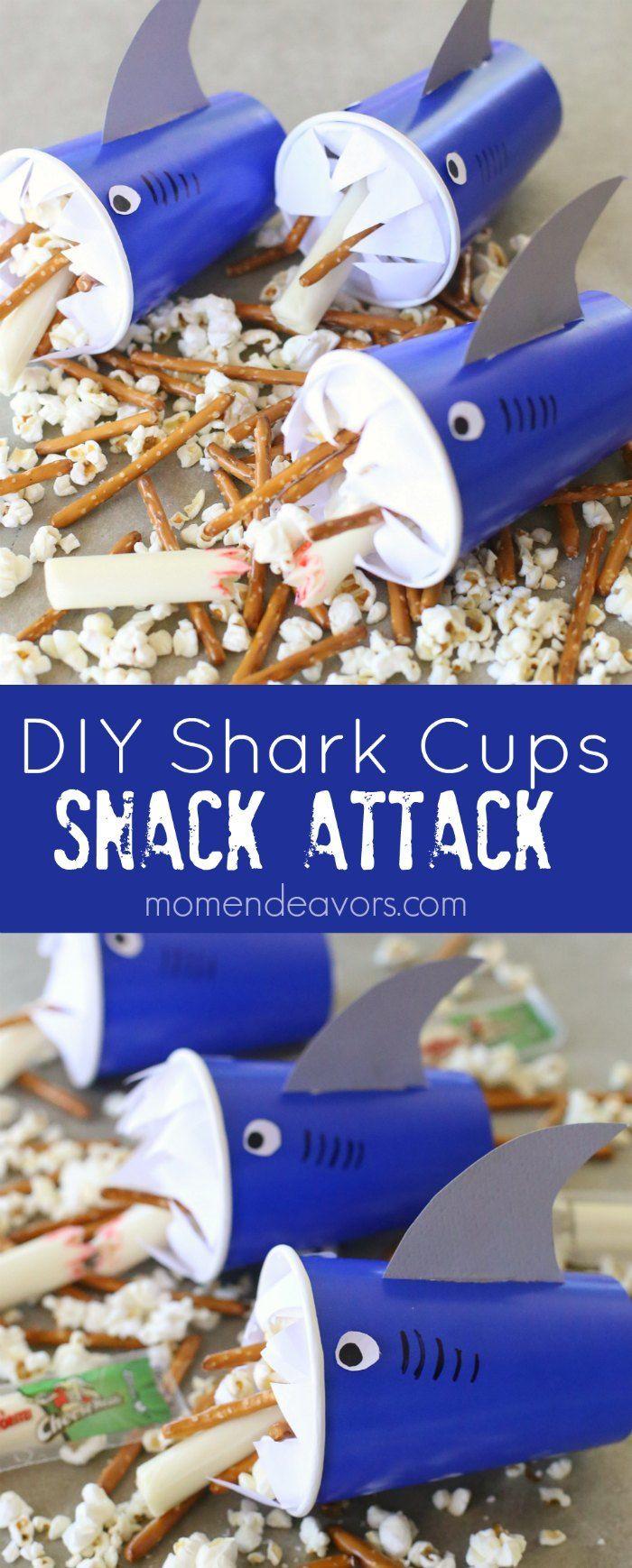 Snack Attack DIY Shark Cups - a fun shark craft & snack idea, perfect for Shark Week or a shark/ocean themed party!