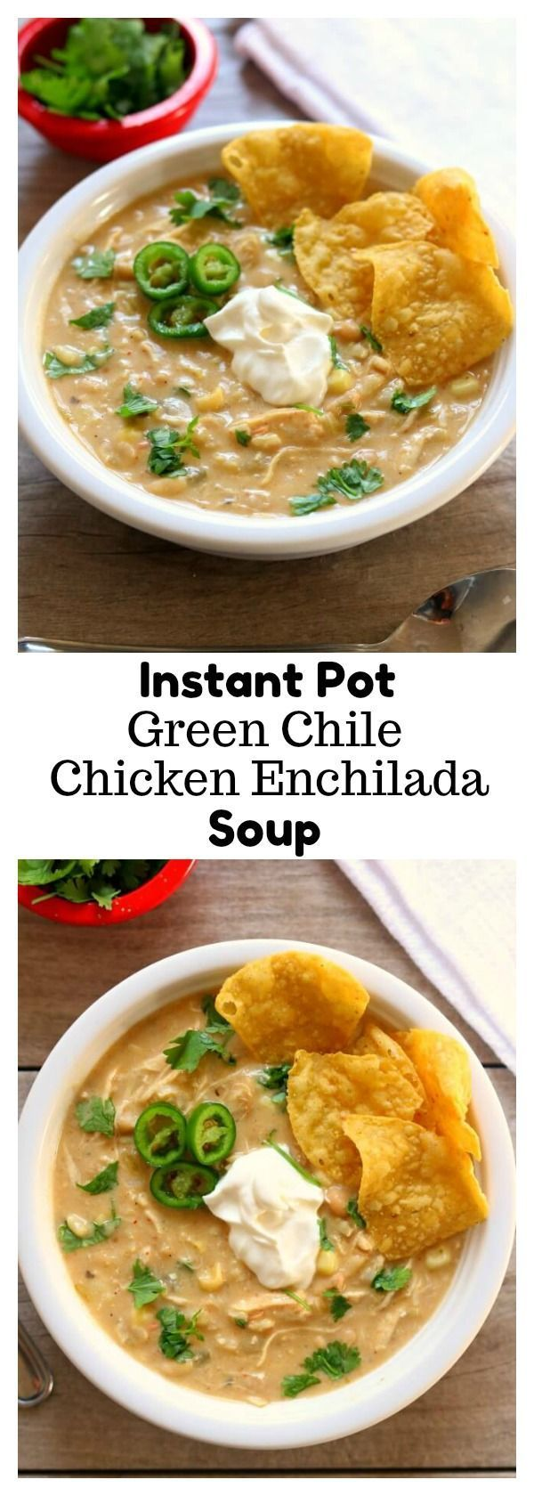 Instant Pot Green Chile Chicken Enchilada Soup–thick and creamy soup with all the flavors from salsa verde chicken enchiladas. Chicken and rice cook quickly in your pressure cooker along with enchilada sauce, green chilies, white beans and flavorful spices. Cream cheese and sweet corn are stirred in at the end along with fresh lime juice for a splash of flavor.