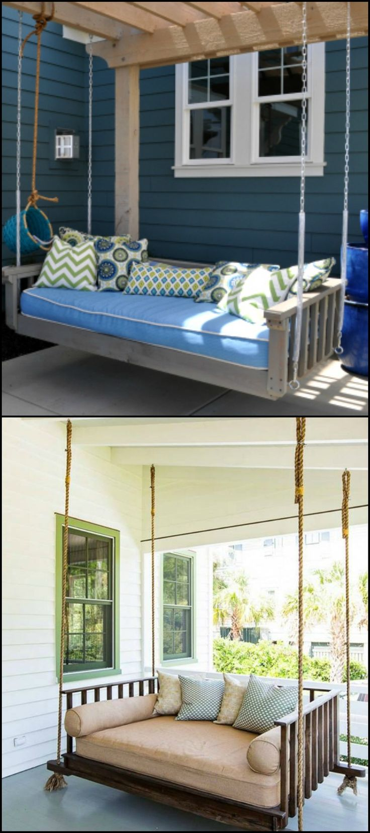 Ahh, a very relaxing hanging daybed! Is there anybody who doesn't want to have this piece of furniture in their outdoor area?  Building a hanging daybed isn't a quick weekend project. But anybody who's simply willing to squeeze in a couple of hours every day can make their own hanging daybed swing in a week! This DIY project doesn't require any special tools and skills.