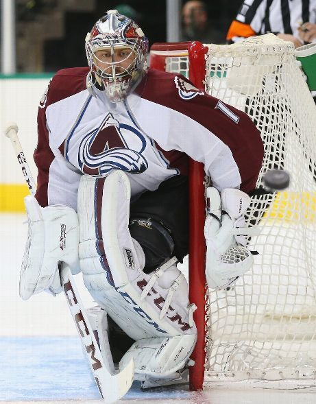 DALLAS, TX - FEBRUARY 27: Semyon Varlamov #1 of the Colorado Avalanche in goal against the Dallas Stars in the first period at American Airlines Center on February 27, 2015 in Dallas, Texas. (Photo by Ronald Martinez/Getty Images)