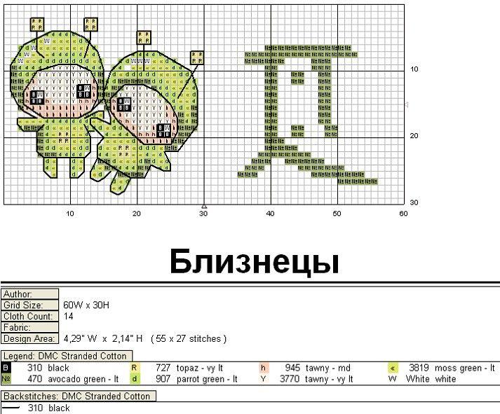 Schema punto croce Gemelli-6