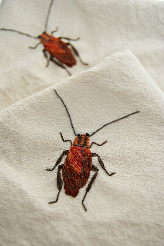 German Cockroach  Hand Embroidered Flour Sack Tea por whatnomints, $38.00