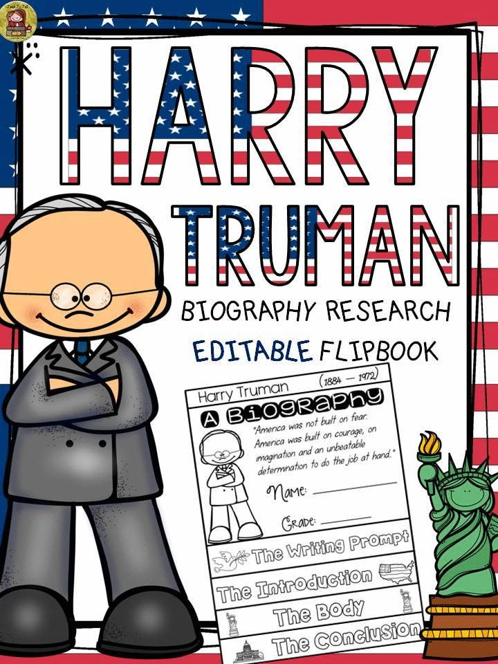 Make research on Harry Truman interesting and fun with this EDITABLE flipbook organizer. https://www.teacherspayteachers.com/Product/PRESIDENTS-DAY-BIOGRAPHY-HARRY-TRUMAN-2375402