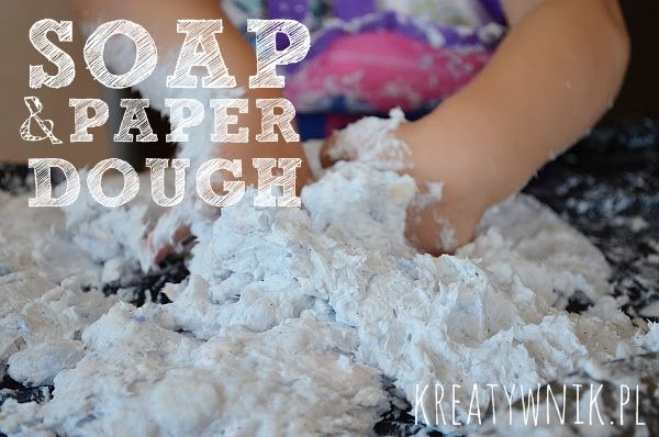 - 3 bars of soap grated on the fine mesh grater, - 2 large cups of hot water - 1 roll of toilet paper. Mix everything well and have fun with it.