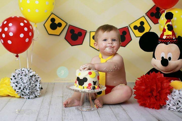 Mickey Mouse 1st birthday, boys, girls, smash cake, red yellow & black, Sara Jean Photography