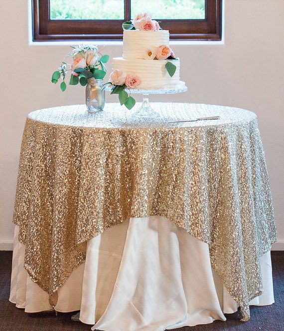 This are lovely Sequin Table Overlay perfect for any wedding or special event. Home of the Original Sequin Tablecloth    Give your reception