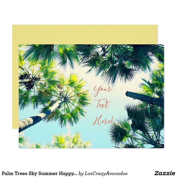Palm Trees Sky Summer Happy Vibes Invitation Card