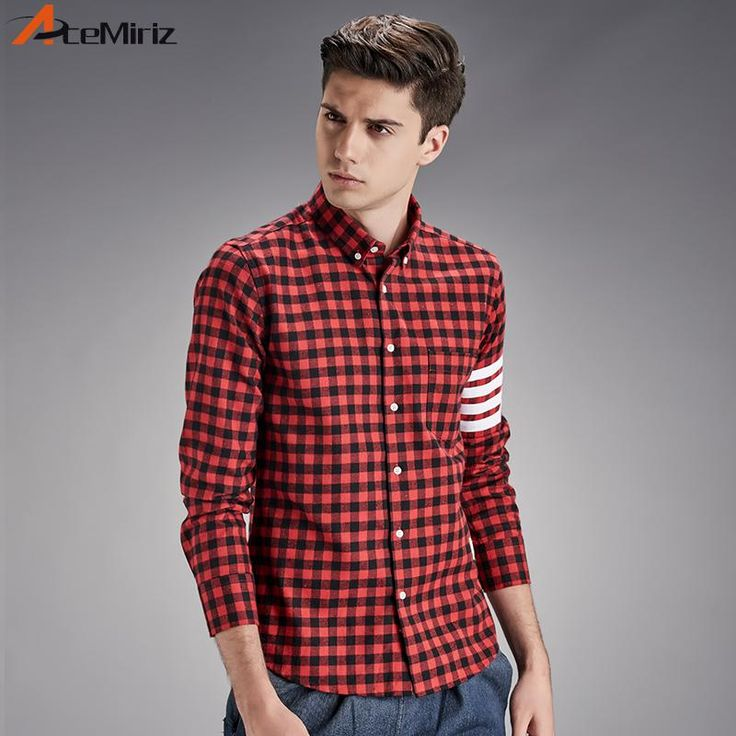 Mens Spring Autumn Plaid Shirt College British Style Red Black White Casual Shirts Young Boys HT-1855