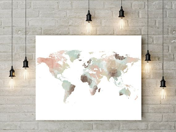 World Map Watercolor Print Large Travel Map Large World Map Gift Painting Home Decor Fine Art