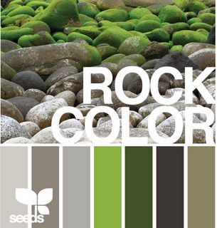 """""""rock color"""" color inspiration ... moss infused palettes of stone, taupe, and grays."""