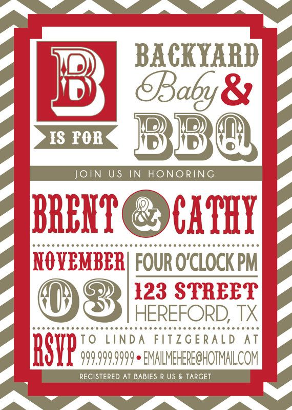 40 best BabyQ Shower Party Invitations images on Pinterest Red - bbq invitation template