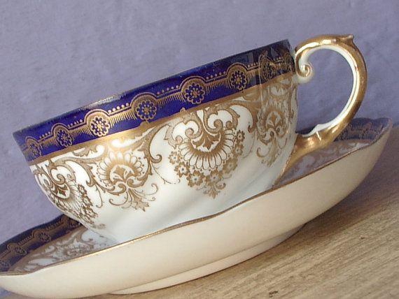 RARO antiguo Aynsley china azul y oro taza de té, taza de té inglés y saucer…