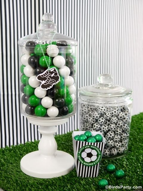 Love these candy jars at a Soccer Birthday Party!  See more party ideas at CatchMyParty.com!