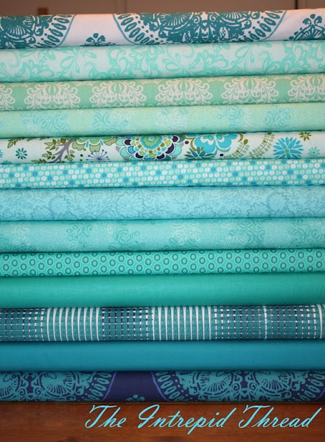 lovely collection of teals assembled by Intrepid Thread