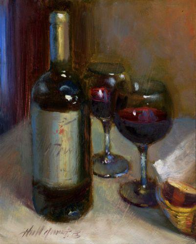 Merlot Red Wine at Frank's Restaurant 10x8 in Original Oil Panel Hall Groat II