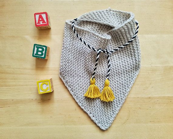 Hand knitted merino baby triangle SCARF newborn by YellowYarnyYak