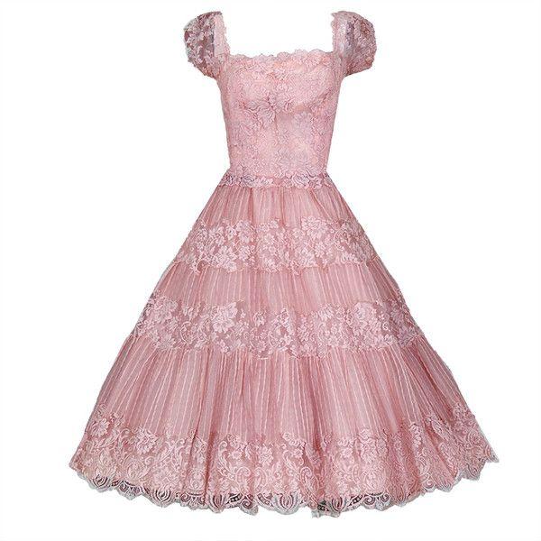 Ceil Chapman - 1950's Ceil Chapman Champagne-Pink Organza & Lace Party Dress