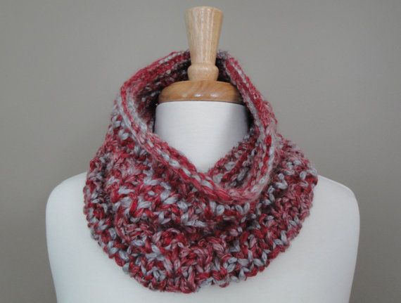 Cozy Cowl - Red & Grey by KnotYourAvgKnits on Etsy, $25.00