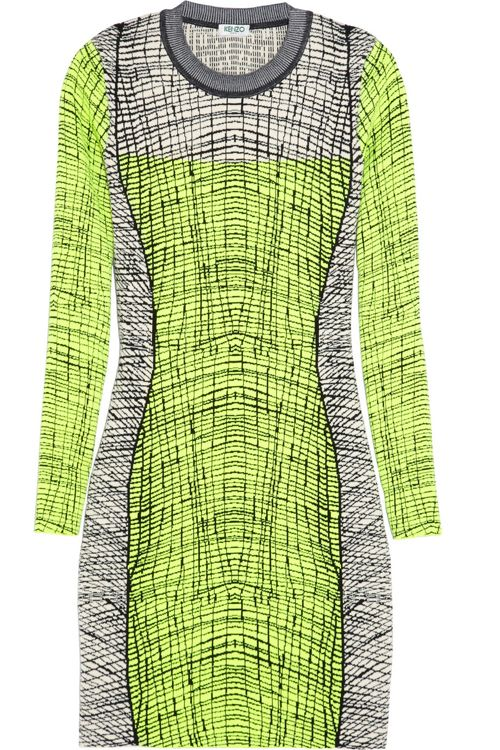 Kenzo Stretch Knit Mini Dress // neon // long sleeve // prints // midi // knee length