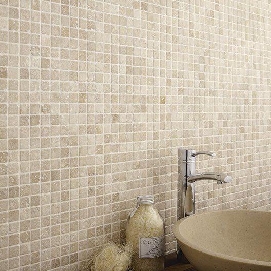 mosaque mineral travertin artens ivoire 23x2 mosaique salle de bainamnagement - Mosaique Salle De Bain Beige