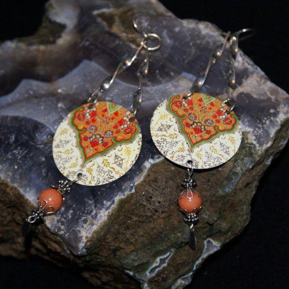 Tin Earring-Dangle Earrings-Bohemian Earrings-Gypsy Earrings-Recycled Earrings-Drop Earrings-Girlfriend Gift-Festival Earrings-Eco Friendley