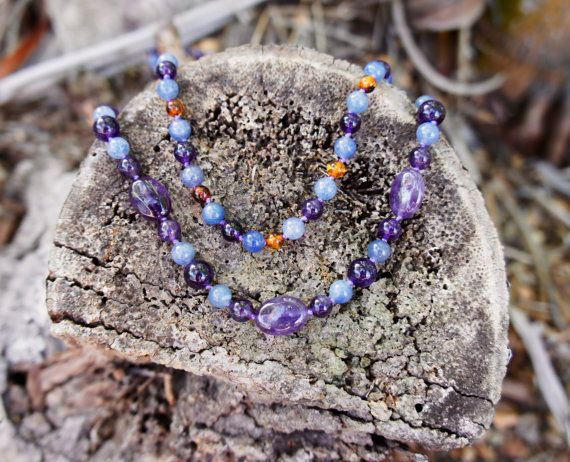20 Adults necklace with Amethyst and Blue Aventurine oval and round beads.    13-14 Childs necklace with Amethyst, Blue Aventurine and Cognac