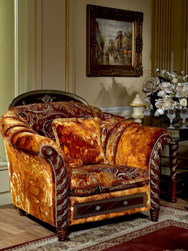 Zeus Walnut & Gold Italian Furniture - Italian Living Room ...