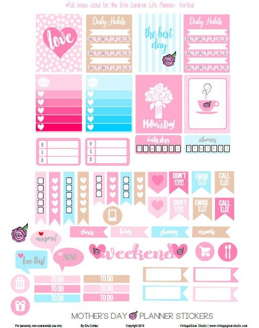 mother 39 s day planner stickers free printable free planner stickers and organizers. Black Bedroom Furniture Sets. Home Design Ideas
