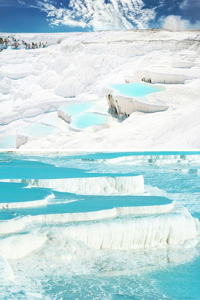 "Pamukkale, meaning ""cotton castle"" in Turkish is a natural site in southwestern Turkey that has existed for thousands of years. 20 UNREAL Travel Destinations you have to see!! Click through to read the full post!"