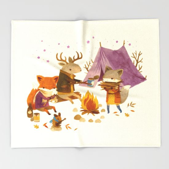 Critters: Fall Camping Throw Blanket by Teagan White - $49.00