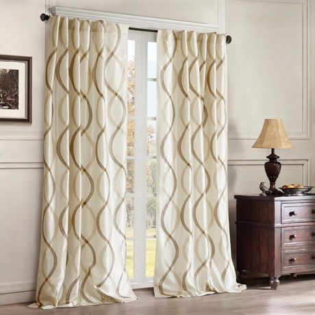 """Two-tone embroidered oggi on irridescent taffeta.  Soft wave oggi is easy to live with. Added lining for energy saving qualities and room darkening benefits.  Panel is made with 3"""" rod pocket as well as back tabs.  Fits decorative rods up to 1.25"""" in diameter and continental rods."""