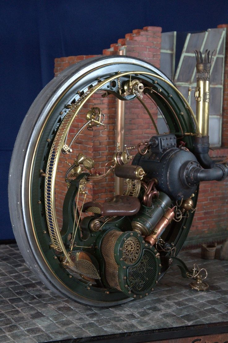 Steam punk monowheel motorcycle. The concept works, but I have no idea if this steam engined example does..if it did it, I can't imagine you'd get far, without crashing or having a complete mental breakdown.