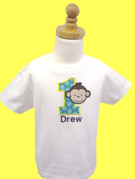 1st birthday monkey appliqued t-shirt