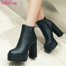VALLKIN Avrupa Tarzı Seksi Yuvarlak Ayak Bileği Çizmeler Rahat Botlar Yüksek Topuklu Kadın Çizmeler Boyutu 34-39(China (Mainland))