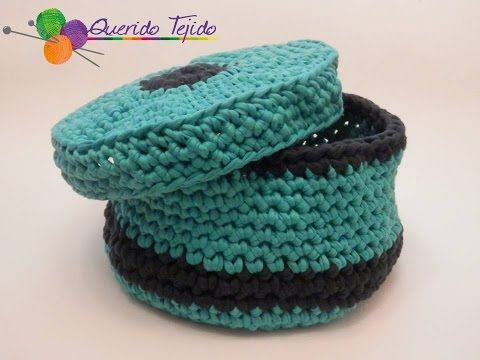 Cesta de trapillo - Crochet Basket T-Shirt yarn ENGLISH SUB - YouTube