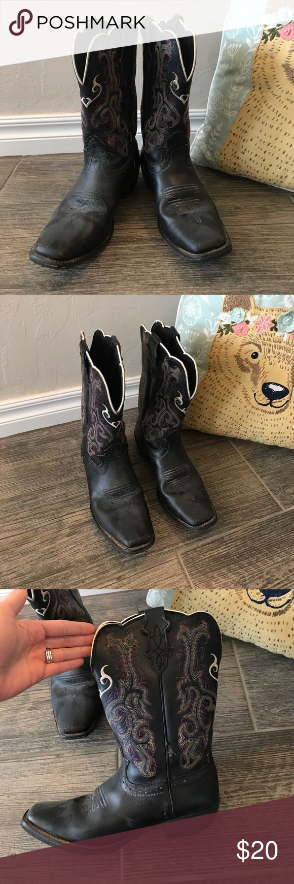 Justin's girls black cowboy boots / cowgirl boots Black boots with purple, white, yellow stitching size 3d. Cute heart designs. Purchased a couple of years ago to wear as a flower girl in a wedding. Justin Boots Shoes Boots