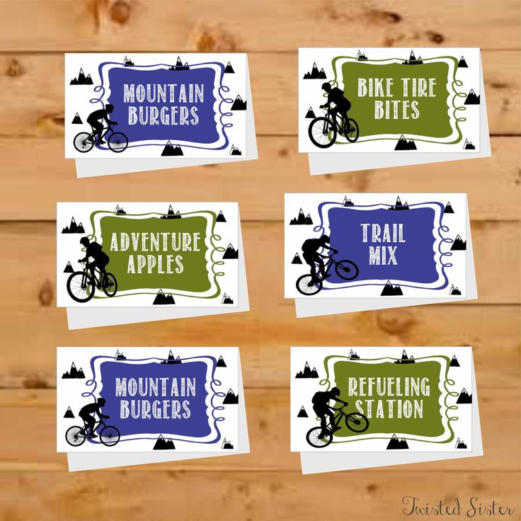 Bicycle Birthday Party Decor, Food Tags, BMX Bike Food Tent Cards, Motorcross Food Tents, Mountain Bike, BMX party, Motorcross Birthday by TwistedSisterShop on Etsy