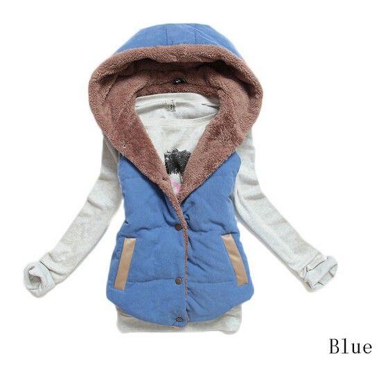Chaleco con pelo por dentro 22€ color azul, también disponible en mas colores, tallas desde la M-XXXL