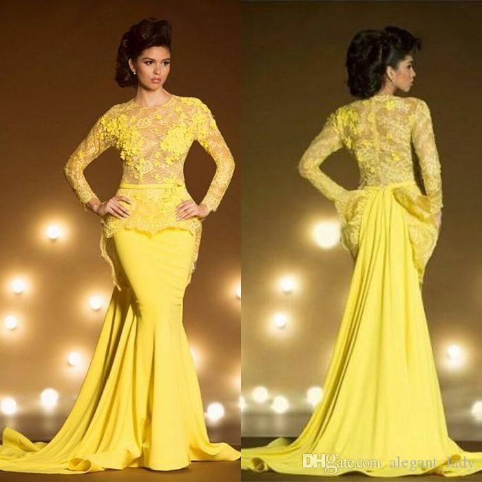 Fashion Lace Formal Evening Dresses With Long Sleeves Mermaid Appliqued Sheer Jewel Neck Peplum Prom Dress Yellow Transparent Evening Gowns Overskirt Evening Dress Yousef Aljasmi Occasion Prom Dress Online with $145.15/Piece on Alegant_lady's Store | DHgate.com
