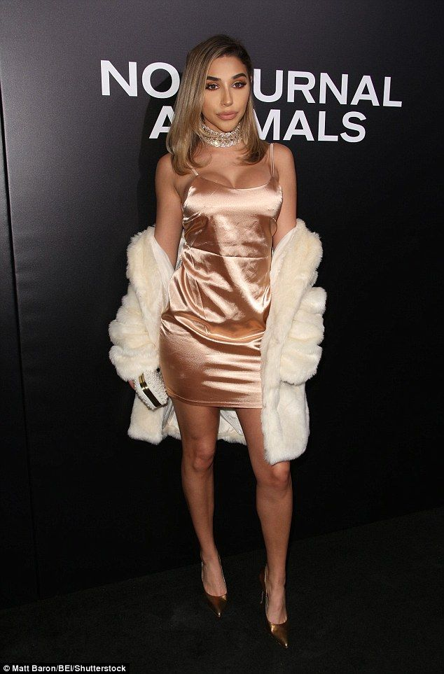 Chilly: Chantel Jeffries wore a silk nightie with a fur coat