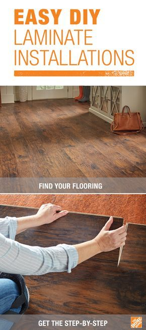Most DIYers can install an entire room of laminate flooring in one day. Most laminate flooring comes in planks that simply snap together with a tongue-and-groove system. The planks can be cut with a circular saw or hand saw, too. Click through for the step-by-step!
