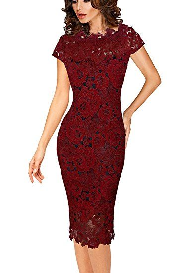 09ca85efcf90 Zalalus Women s Cocktail Dress Cap Sleeve Lace Dresses For Wedding Party  Wine Red US4