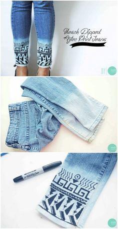 Différentes façons de customiser soi-même son jean; celle-ci est ma préférée.