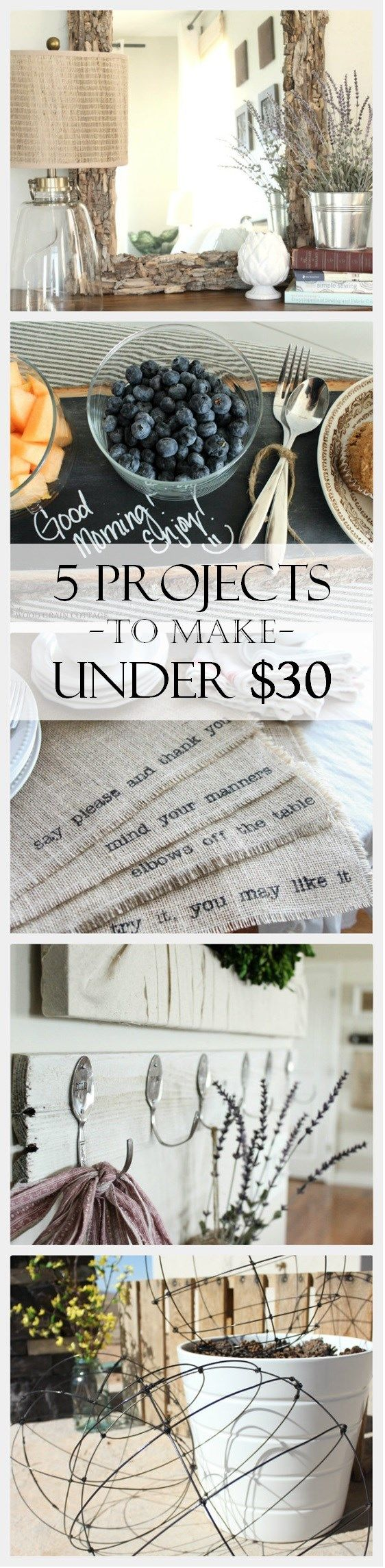 5 DIY Projects to Make: All Under $30~ via www.thewoodgrain.cottage