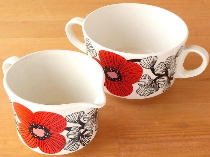 Arabia Finland, Sugar bowl and creamer, designer Esteri Tomula