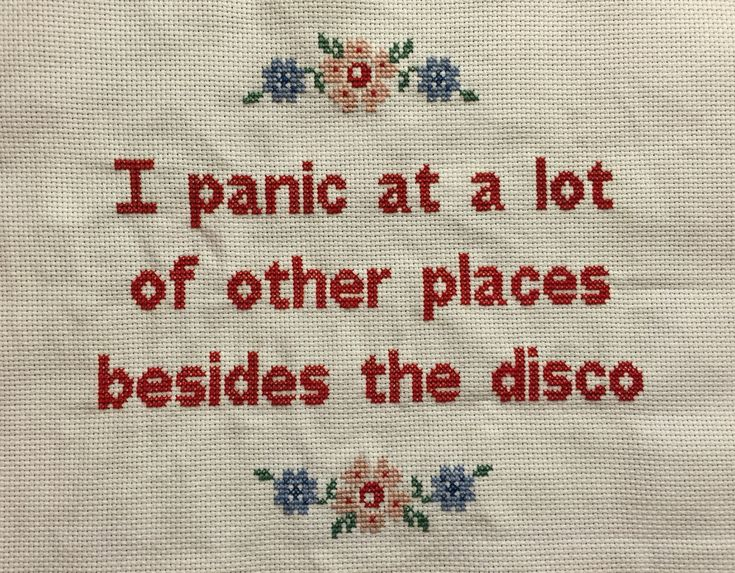 "k4i4: "" I found this quote (courtesy of poppunkpalace's Tumblr) and needed to stitch it. "" But why the disco?"