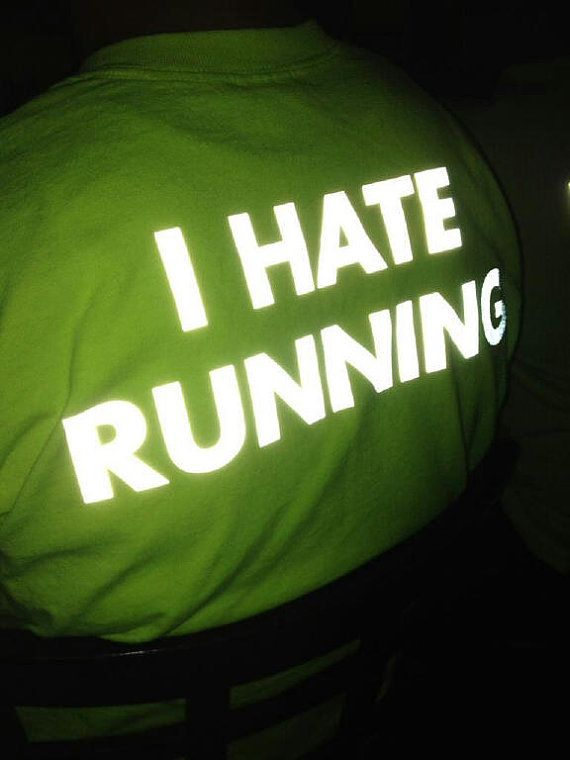 High Visibility I HATE RUNNING Tshirt 50/50 Blend by LookoutWear, $25.00