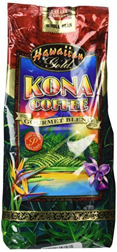 Hawaiian Gold Kona Coffee - 2 Lb Bag of Gourmet Coffee Beans - http://teacoffeestore.com/hawaiian-gold-kona-coffee-2-lb-bag-of-gourmet-coffee-beans/
